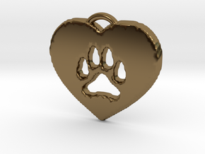 heart paw in Polished Bronze