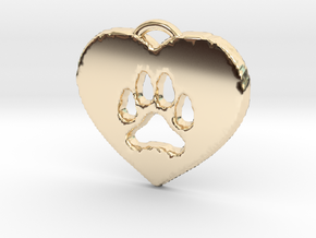 heart paw in 14k Gold Plated Brass