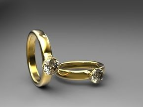 Diamond Solitaire Engagement Ring - Gold & Silver in 14K Yellow Gold