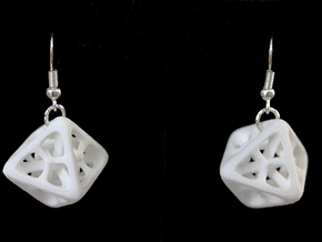 Octahedron Earrings in White Processed Versatile Plastic