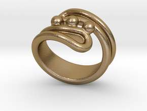 Threebubblesring 20 - Italian Size 20 in Polished Gold Steel