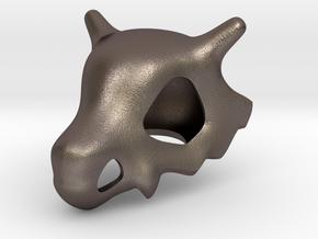 Cubone Skull in Polished Bronzed Silver Steel