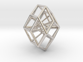 Rhombic Icosahedron Pendant in Rhodium Plated Brass