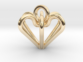 Elegant Heart Pendant  in 14k Gold Plated Brass