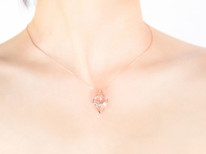 HEART TO HEART Sharped, Pendant in 14k Rose Gold Plated Brass