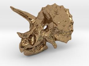 Triceratops Dinosaur Skull Pendant in Natural Brass