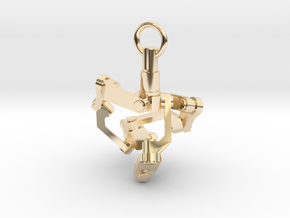 Mechanical earring (right) in 14K Yellow Gold