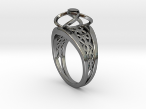 3-2 Enneper Curve Twin Ring in Premium Silver