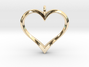 Twisting Heart Pendant in 14k Gold Plated Brass