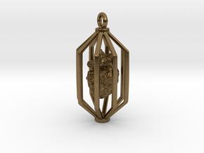 Caged Heart in Interlocking Raw Bronze