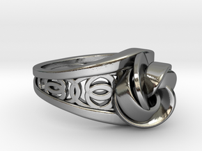 Achtknoten Curve Twin Ring in Fine Detail Polished Silver