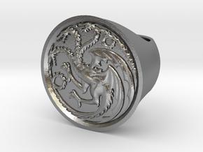 Ring of house targaryen - game of thrones in Natural Silver