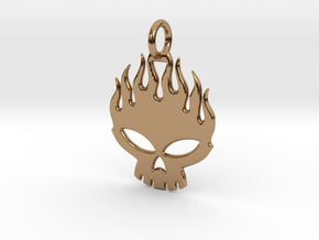 Flaming skull in Polished Brass