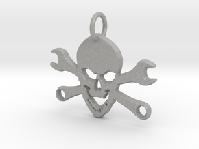 Skull and cross toolkeys Pendant in Aluminum