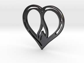 The Flame Heart II (steel pendant) in Polished and Bronzed Black Steel
