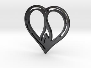 The Flame Heart II (steel pendant) in Polished Grey Steel