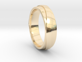 Simple Unique Merging Ring in 14K Yellow Gold: 7 / 54