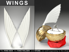 "WINGS (CORAL MODEL) - To the ""Snitch Ring Box"" in White Strong & Flexible Polished"