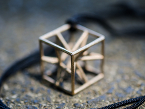 """starcube"" pendant in Polished Bronzed Silver Steel"