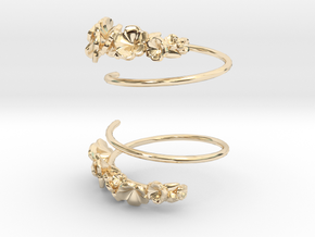 Flower Spiral Earrings in 14K Yellow Gold