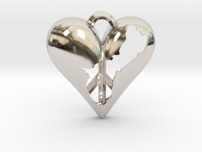 Guam in Heart with Peace Symbol Necklace Pendant in Platinum