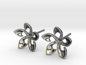Floral Plumaria Earrings in Polished Silver