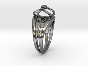 Tangentoidal Crown Curve Twin Ring in Fine Detail Polished Silver
