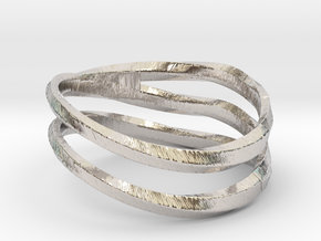 pentatwist waves ring in Rhodium Plated Brass: 5.5 / 50.25