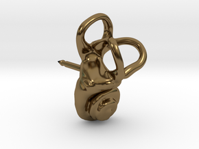 Inner Ear (Cochlea) Lapel Pin - RIGHT sided in Polished Bronze