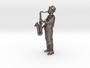 Scanned Saxophone player-818 in Polished Bronzed Silver Steel