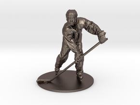 Scanned Hockey Player -15CM High in Polished Bronzed Silver Steel