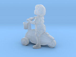 Scanned Little Girl rides a toy car - 8CM High in Smooth Fine Detail Plastic