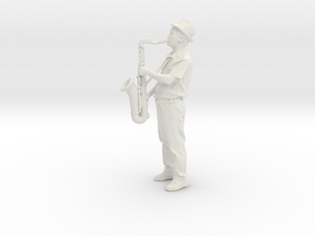 Scanned Saxophone player 6CM High in White Natural Versatile Plastic