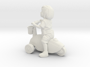 Scanned Little Girl rides a toy car - 8CM High in White Natural Versatile Plastic