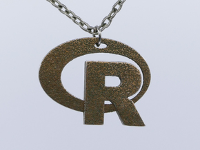 Pendant R Statistics Logo (thickness 2.6 mm) in Polished Bronzed Silver Steel