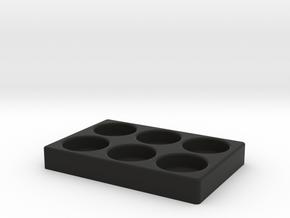 6 Slot 25mm RDA Stand in Black Natural Versatile Plastic