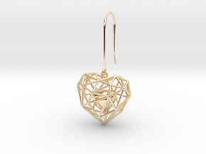 Metal Wireframe Heart Earring in 14K Yellow Gold