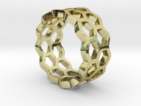 Double Hex Ring 7 in 18k Gold Plated Brass