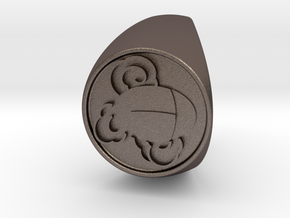 Custom Signet Ring 55 in Polished Bronzed Silver Steel