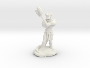 Dragonborn Barbarian with Axe in White Natural Versatile Plastic