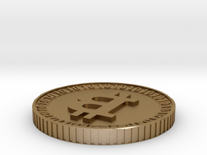 Model bitcoin with private key image storage in Polished Gold Steel