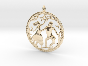 Beautiful vintage style pendant in 14k Gold Plated Brass