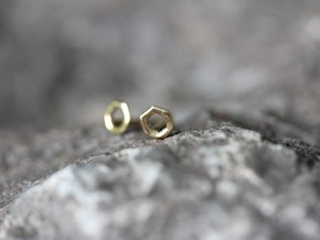 Hexagon studs in 14K Yellow Gold