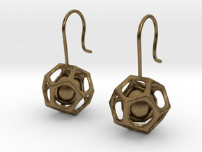 Dodecahedron earrings in Natural Bronze (Interlocking Parts)