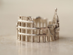 Rome Cityscape - Skyline Ring in Polished Silver