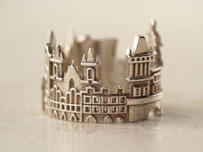 Prague Cityscape - Skyline Ring in Polished Silver