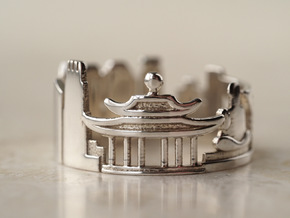Hong Kong Cityscape - Skyline Ring in Polished Silver
