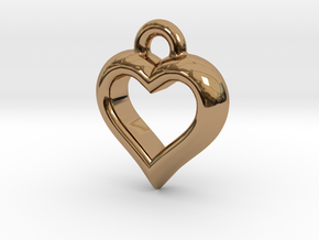 The Hearty Little Heart (precious metal pendant) in Polished Brass