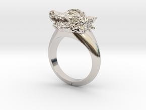 wolf Ring in Rhodium Plated Brass: Medium