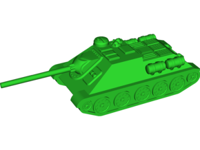 SU-100 Tank Destroyer in White Natural Versatile Plastic: Small